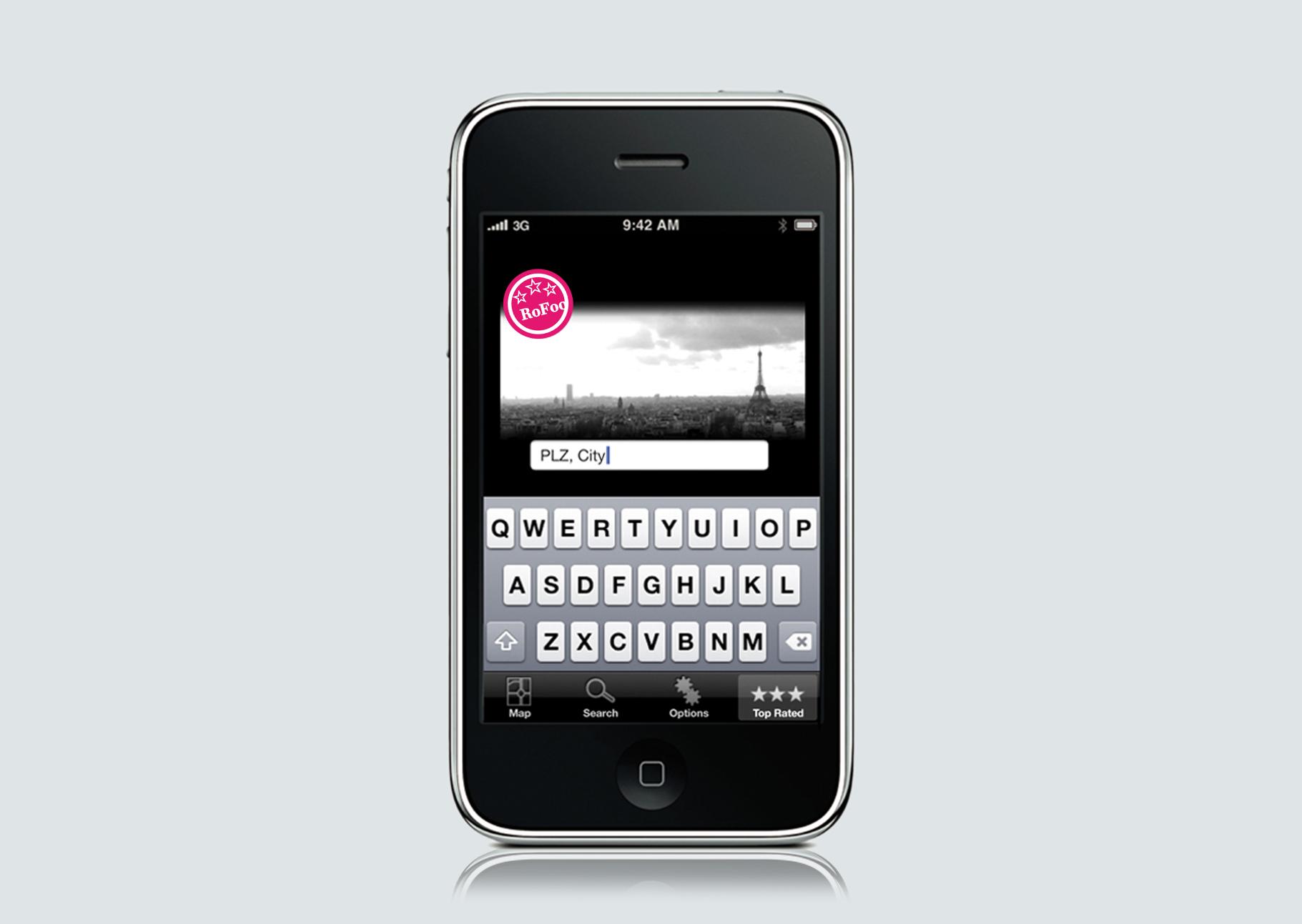 RoFoo - Romantic Food Finder App UX Mockup
